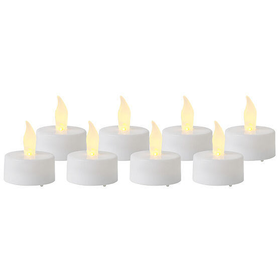 Plastic Flameless Tea Light Candles - Unscented - White - 8 pack