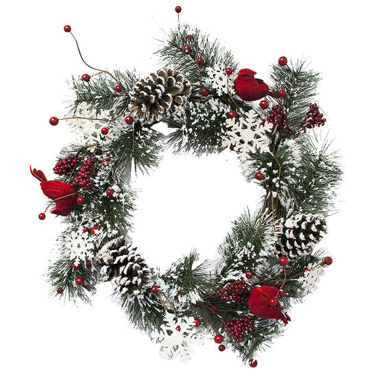 Christmas Wreath with Pine Needles with Snowflakes - 22in