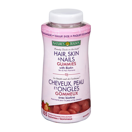 Nature's Bounty Hair Skin & Nails Gummies with Biotin - Strawberry - 165's