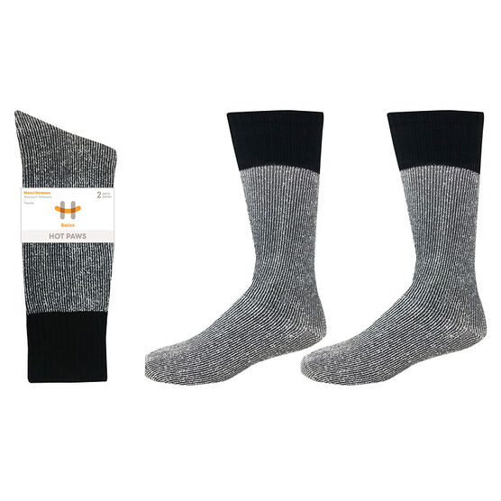 Hot Paws Thermal Socks - Grey/Black - Sizes 10-13 - 2 Pairs