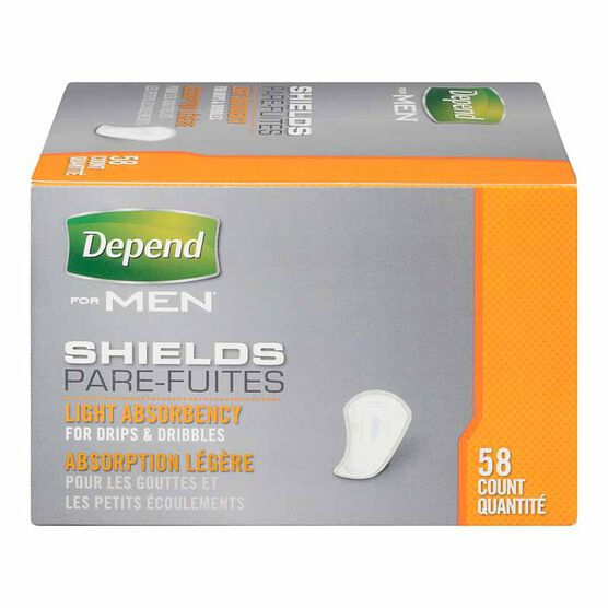 Depend Shields for Men - Light Absorbency - 58's
