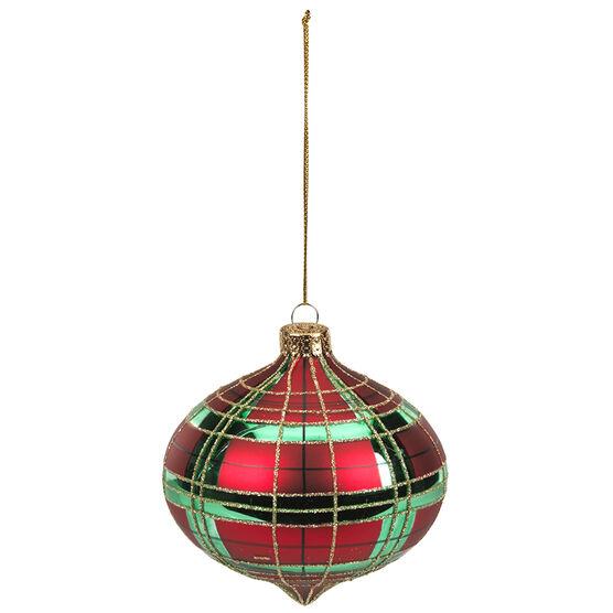 Christmas Tartan Check Onion Ornament - 100mm