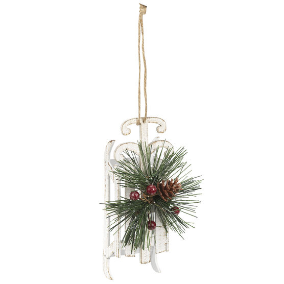 Wild Berries MDF Sleigh Ornament - White - 5.5in