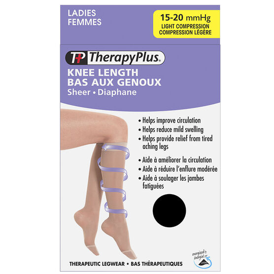 Therapy Plus Light Compression Ladies Knee High Socks - Black - Large