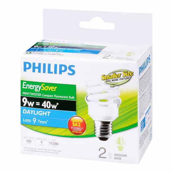 Philips Minitwister 9w CFL Light Bulb - Daylight - 2 pack