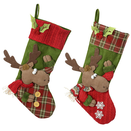 Winter Wishes Moose Stocking - 22in - Assorted