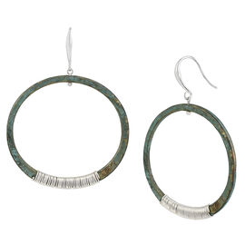 Robert Lee Morris Silver Plated Wire Wrapped Large Hoop Earrings - Patina