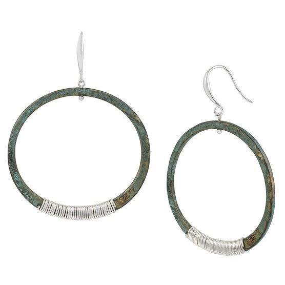Robert Lee Morris Silver Plated Wire Wrapped Large Hoop Earrings - Patina