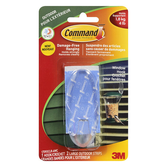 Command™ Large Outdoor Window Hook - Clear - 1 hook