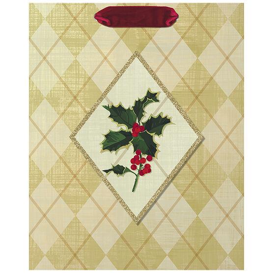 Hallmark Argyle Holly Gift Bag - Medium - Elegant Golds - 0349XGB1242