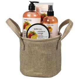 BodyCaress Fruits Bath Gift Set with a Canvas Bag - Mandarin Mango - 4 piece