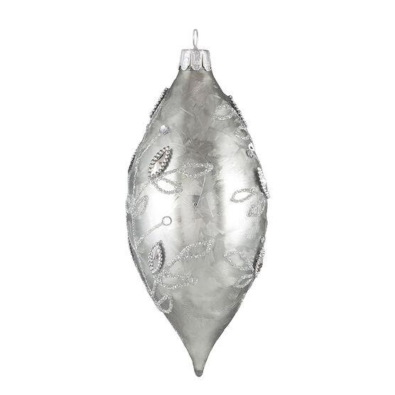 Modern Twist Drop Ball Ornament - Silver Champagne - 5.5in