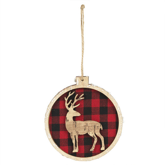 Christmas Tartan Animal Disc Ornament - Assorted - 4in