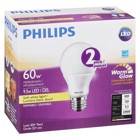 Philips A19 LED - Soft White Warm Glow - 9.5w/60w - 2pk
