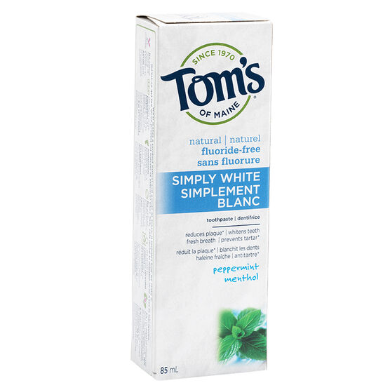 Tom's of Maine Natural Antiplaque plus Whitening Toothpaste - Fluoride-Free - Peppermint - 85ml