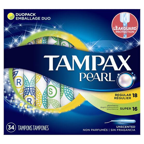 Tampax Pearl Tampons Duopack - 18 Regular/16 Super
