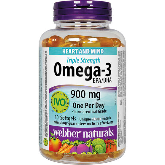 Webber Omega Triple Strength Softgels - 900mg - 80's