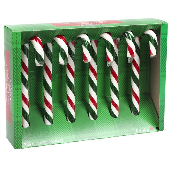 Clarington Jumbo Candy Canes - Peppermint - 6 pack