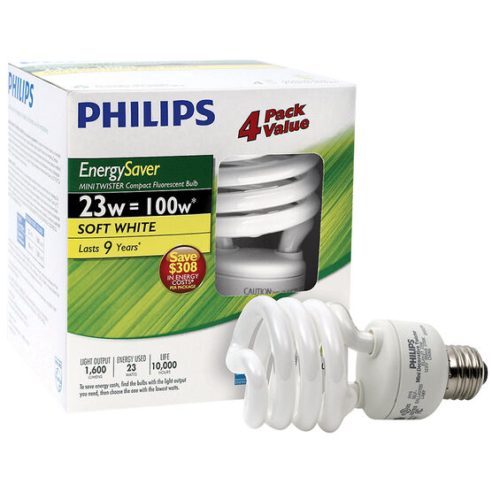 Philips Energy Saver 23w Minitwister CFL Bulb - Soft White - 4 pack