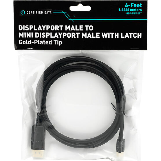 Certified Data Display Port Male to Mini Display Port Male with Latch - GDP-MDP6FT