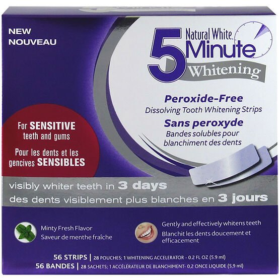 Natural White 5 Minute Whitening Strips for Sensitive Teeth - 56's