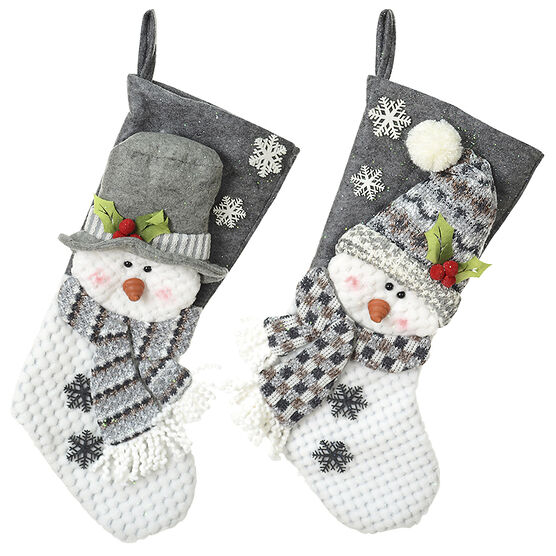 Winter Wishes Snowman Stocking - 22in - Assorted