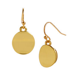 Kenneth Cole Shiny Disk Drop Earrings - Gold Tone