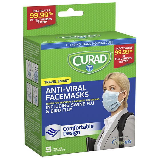 Curad Anti-Viral Facemasks Travel Smart - 5's