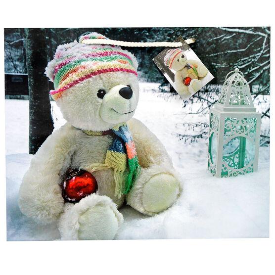 Christmas Gift Bag with Teddy Bear - Large - Assorted
