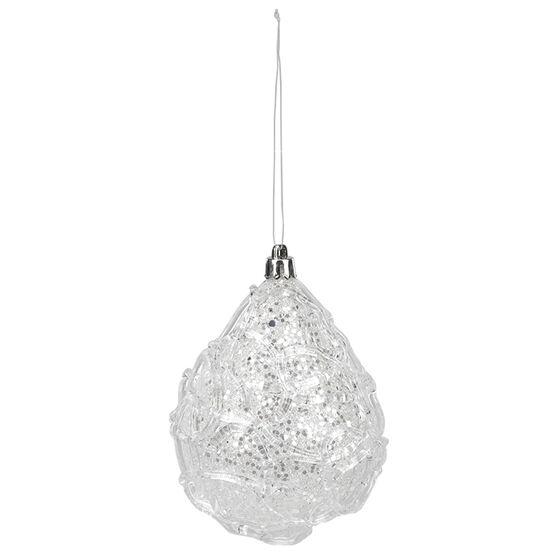 Polar Ice Drop Ornament - Clear/White - 10cm