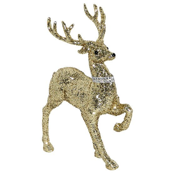 Christmas Forever Prancing Deer with Glitter - 12in - Gold - XM-ZE2083