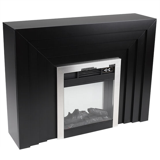 Windsor Electric Fire Place with Wooden Mantel - Black - A5703/A5702