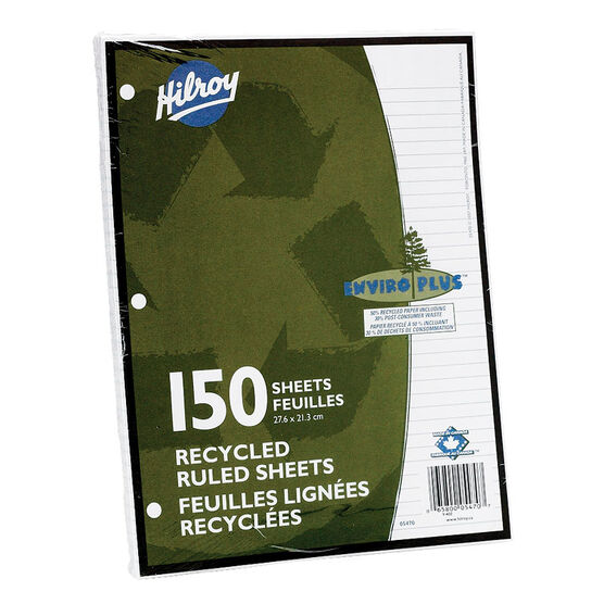Hilroy Recycled Ruled Filler Paper - 150 sheets