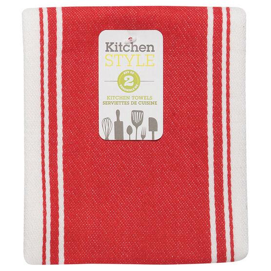 Kitchen Style Stripe Teatowel - Red - 2 pack