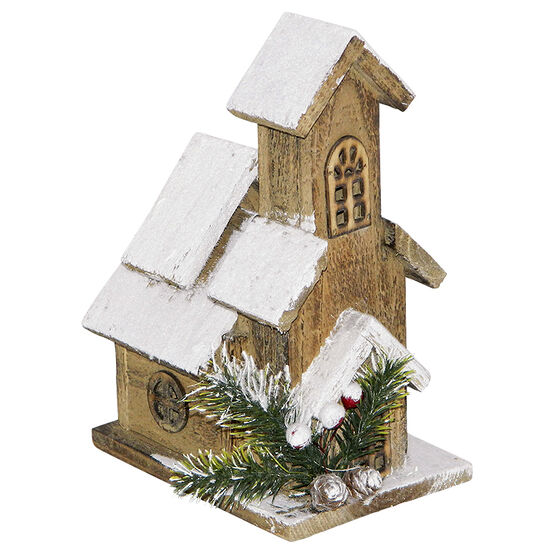 Christmas Wooden House with Snow - 9in