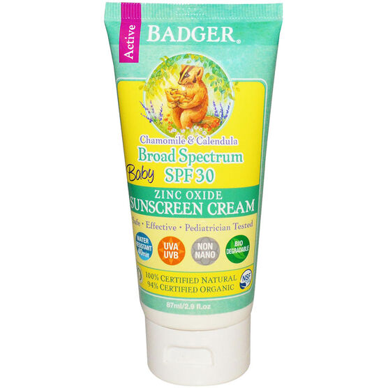 Badger Baby Zinc Oxide Sunscreen Cream - SPF 30 - 87ml