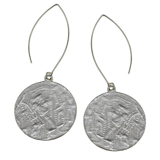 Canvas Hammered Disc Earrings - Silver
