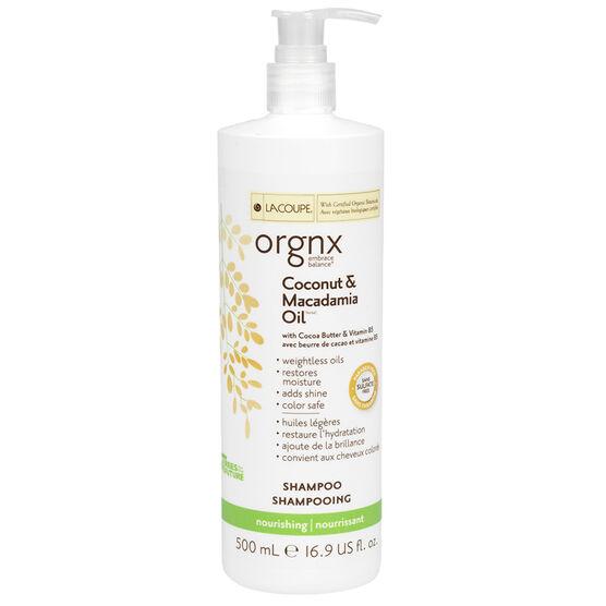 LaCoupe Orgnx Coconut & Macadamia Oil Shampoo - Nourishing - 500ml
