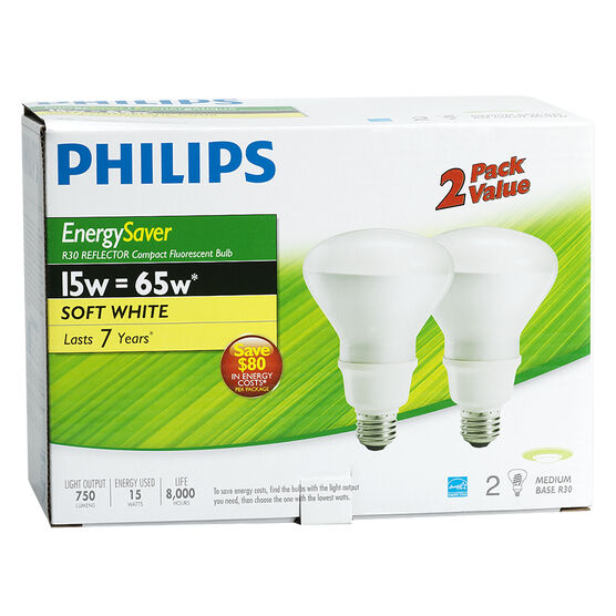 Philips 16W Soft White - Reflector Compact Fluorescent Lighting Light Bulb - 2 pack
