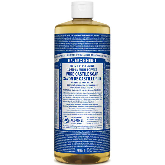 Dr. Bronner's 18-IN-1 Pure-Castile Liquid Soap - Peppermint - 944ml