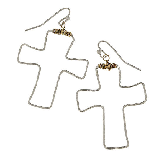 Canvas Hammered Cross Earrings - Silver/Gold