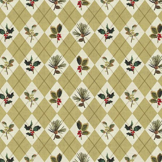 Hallmark Argyle Holly Gift Wrap Roll - Elegant Golds - 0499XWR1856