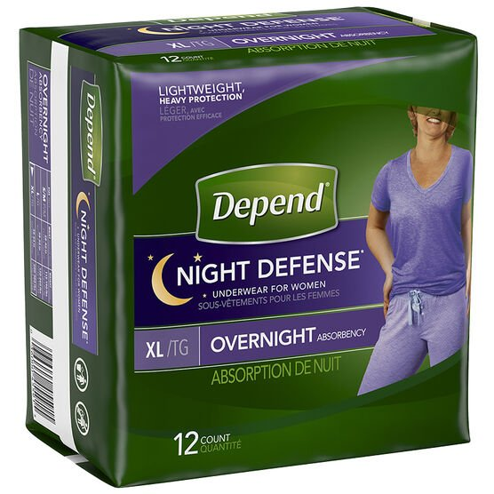 Depend Night Defense Underwear for Women - Extra Large - 12's
