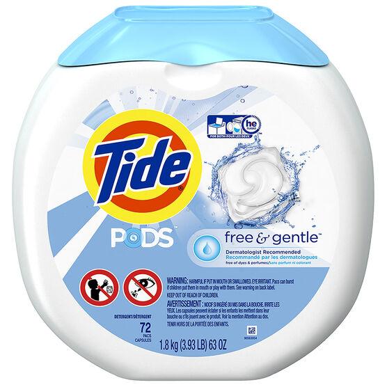 Tide Pods Laundry Detergent - Free & Gentle - 72's