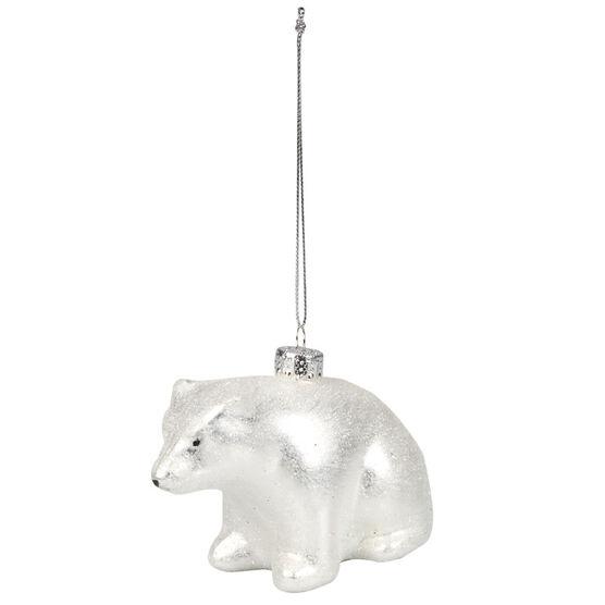 Polar Ice Glass Polar Bear Ornament - 71mm