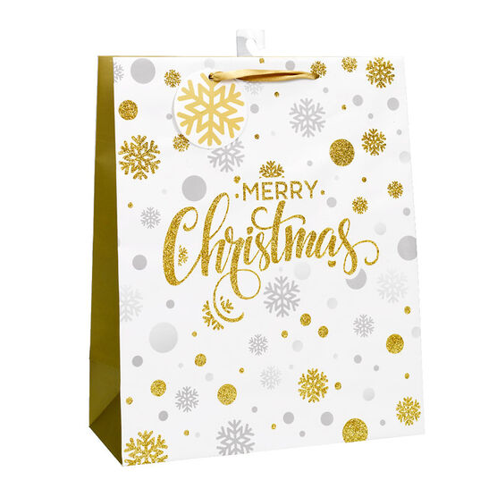 Christmas Gift Bag Glitter Snowflakes - Large - Aseorted