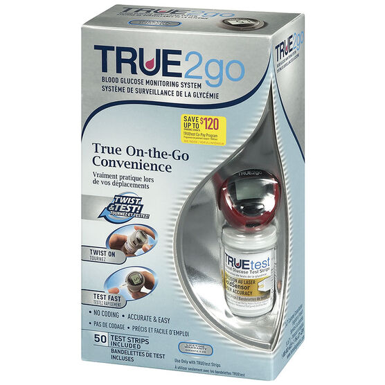 TRUE2go® Blood Glucose Meter With 50 Strips