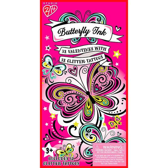 Butterfly Ink Glitter Tattoo Valentines - 32s - 4161725