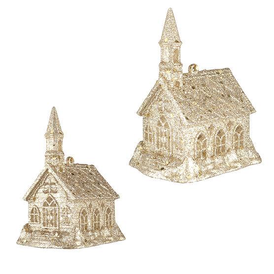Tartan Time Church Glitter Ornament - Gold - 4 x 3in