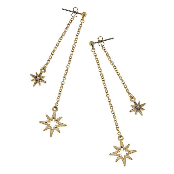 Canvas North Star Chain Earrings - Gold